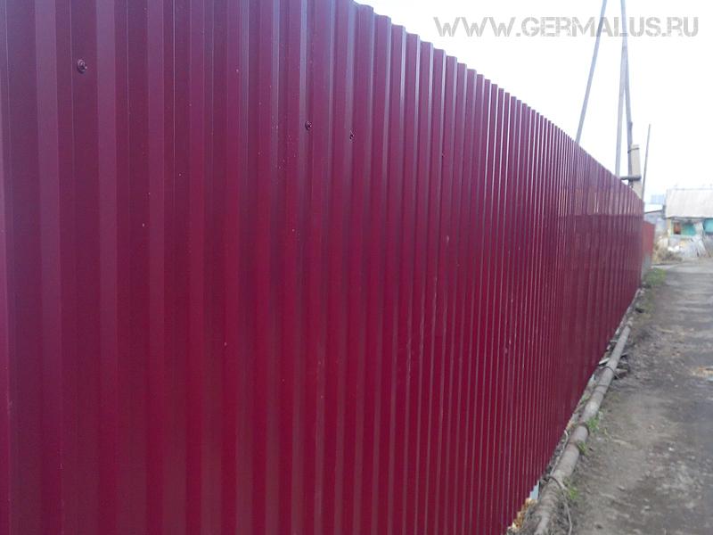 Забор профнастил С20 RAL3005 дачи шлюз 2015 год